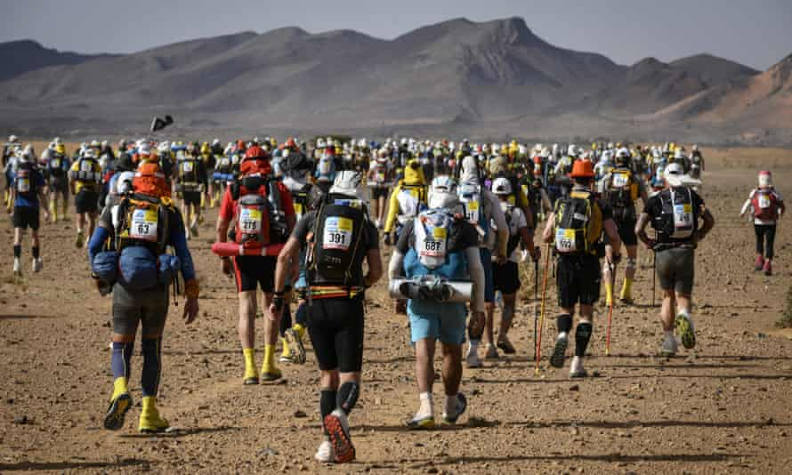 Runners in the fourth stage of the 34rd edition of the Marathon des Sables, in April 2019.
