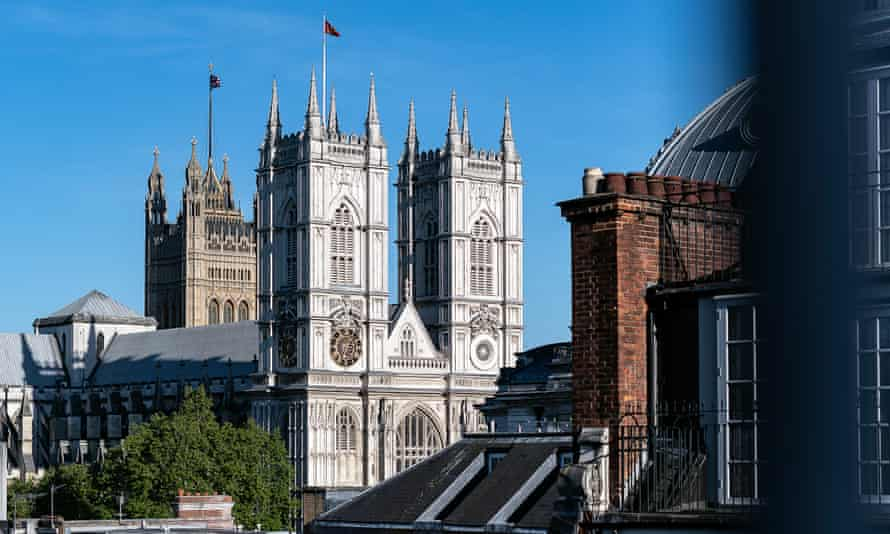 The view is not bad, either. Westminster Abbey and the Houses of Parliament.