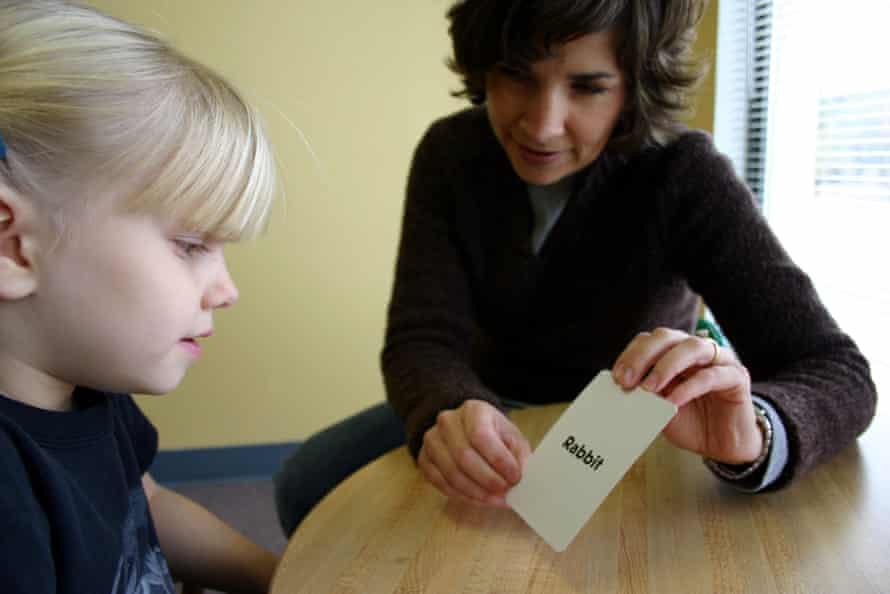 Student working on reading skills using phonics.