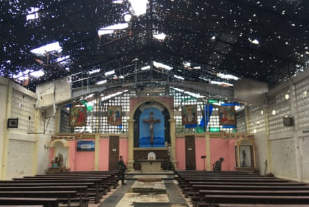 Saint Mary's cathedral in Marawi where Isis supporters shot a propaganda video during the war here. Church leaders say it can be demolished.