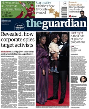 Guardian front page, Wednesday 13 December 2017