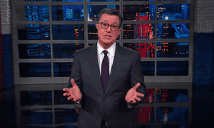 """Stephen Colbert: """"On the one hand, after a terror attack to condemn the extremist ideology of the terrorist should be a slam dunk. On the other hand, [Trump] can't jump."""""""