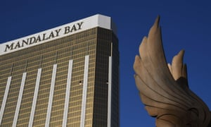 Broken windows in the Mandalay Hotel on the Las Vegas Strip, after a gunman opened fire on a country music festival.