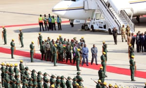 The body of Mugabe arrives back in Harare.