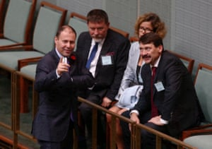 Environment and energy minister Josh Frydenberg talks to the president of the republic of Hungary János Áder, right, during question time.