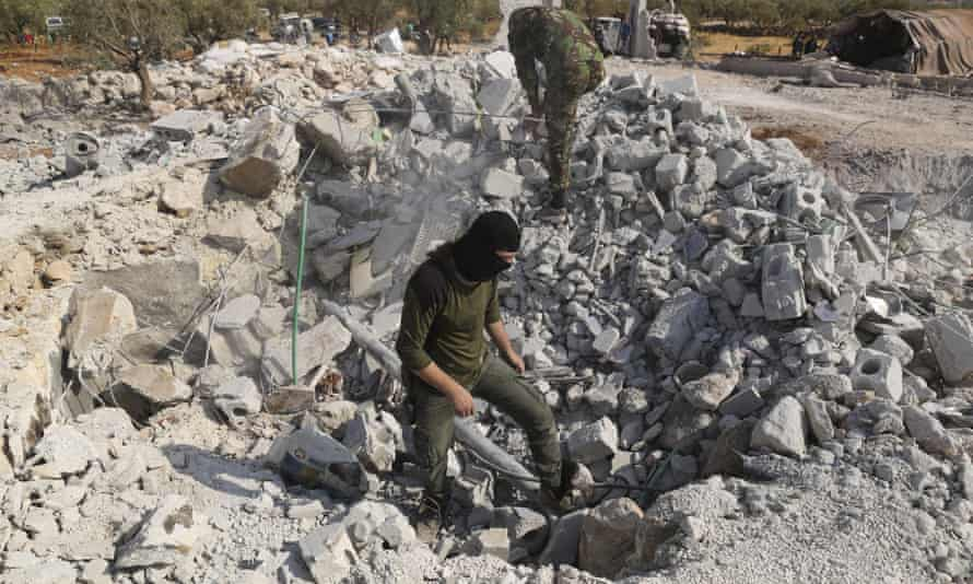 Searching through rubble