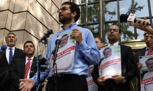 A member of the Justice for Jamal Khashoggi group holds a news conference in Washington DC