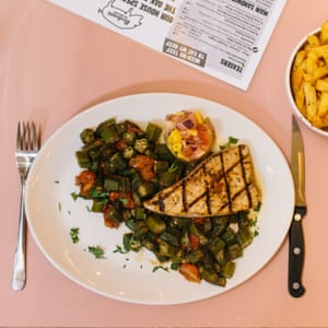 Bodean's Cajun swordfish: 'Blackened fish with a mountain of overcooked okra and cherry tomatoes.'