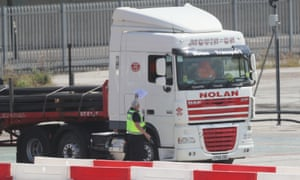 A lorry entering a Department of Agricultural, Environment and Rural Affairs facility near Belfast Harbour yesterday.
