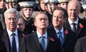 Tim Farron attends a service at the cenotaph for Remembrance Sunday, with Michael Fallon, David Cameron and Chris Grayling