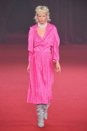 A model wearing one of Virgil Abloh's designs inspired by Princess Diana.