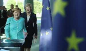 German Chancellor Angela Merkel and British Prime Minister Theresa May walk past European Union flags in Berlin, Germany.