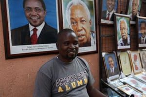 Poster-seller Hawi Idrissa says that he sells more images of Tanzania's current president than of Jesus, the Virgin Mary and the country's founding father, Julius Nyerere, but selling to the state offices that are required to display the poster involves bribery and issuing false receipts to corrupt officials.
