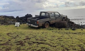 A pickup truck collided with a moai platform on Easter Island