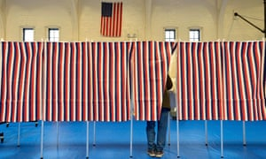 Voting booths in Concord, New Hampshire on 11 February 2020.