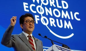 Japanese Prime Minister Shinzo Abe speaks at the World Economic Forum (WEF) annual meeting in Davos, Switzerland, January 23, 2019.