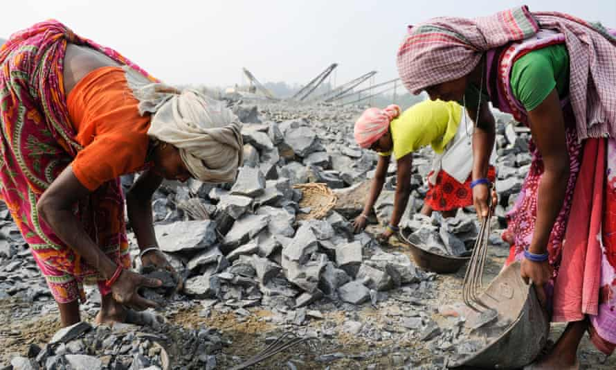 Work at a stone quarry near Bankura in India's West Bengal state