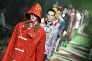 Models in PVC sou'westers on the Gucci spring/summer 2017 catwalk.