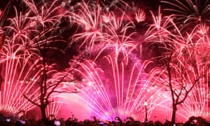 Fireworks at the London Eye herald the arrival of 2016.