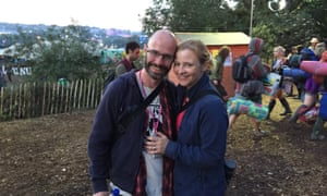 Dorian Lynskey and his wife Lucy at Glastonbury 2015.