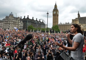 Brand speaking at the End Austerity Now rally in Parliament Square, London, in June 2015