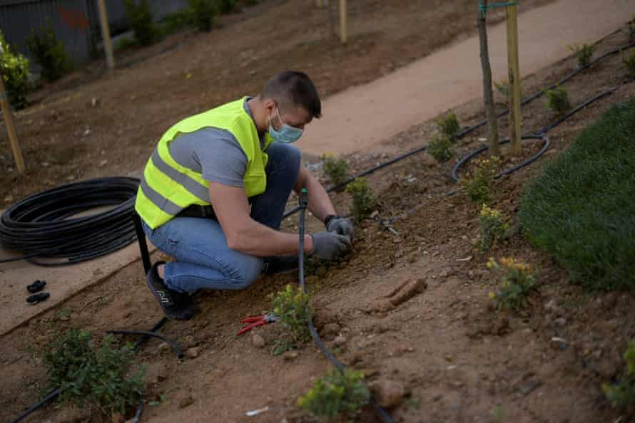 A municipal employee works in a pocket park in Athens, Greece.