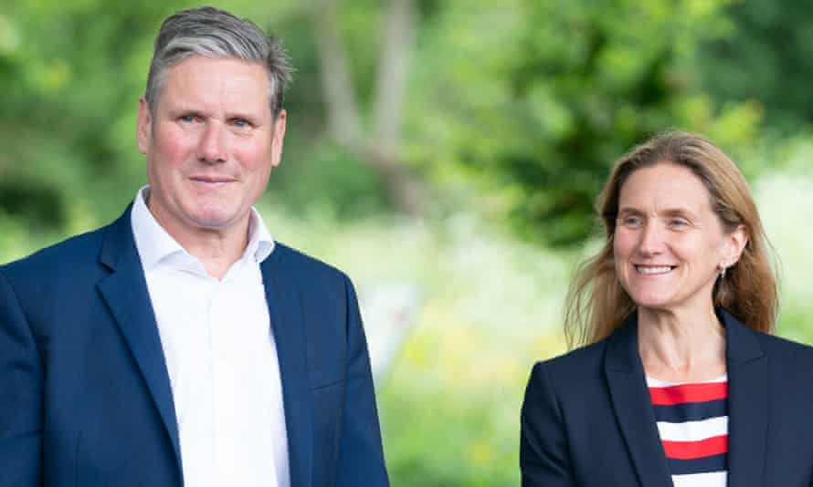 Keir Starmer and Kim Leadbeater during a visit to the Jo Cox Community Wood before the Batley and Spen byelection.
