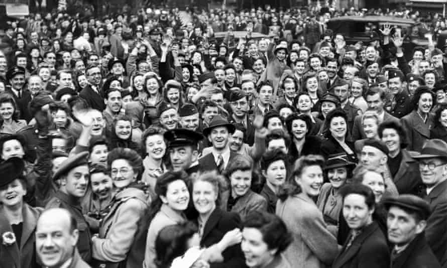 Crowds celebrate VE Day in Piccadilly Circus, London.