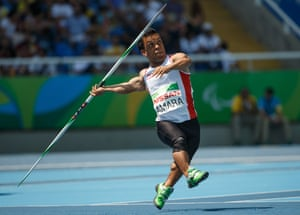 Tunisia's Mohamed Amara competing in the men's javelin F41 final