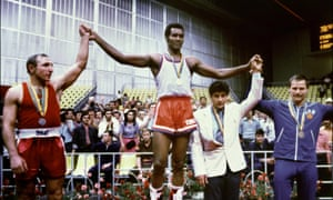 Teófilo Stevenson won the Olympic heavyweight boxing title in 1972, 1976 and 1980. Here, he celebrates victory over Pyotr Zaev of the Soviet Union in Moscow in 1980.