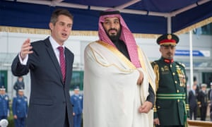 Mohammad bin Salman, crown prince of Saudi Arabia, with then defence secretary Gavin Williamson, London, 2018