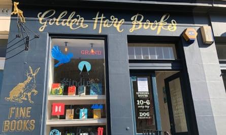 Golden Hare Books. Edinburgh sunny shopfront