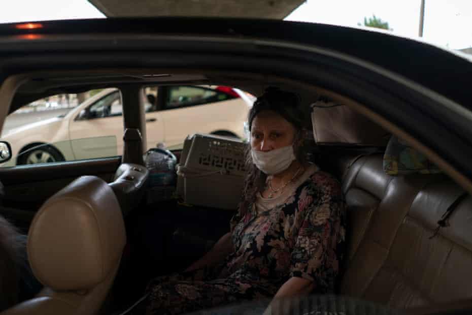Barbara Pagett in her friend Kevin Denny's car.