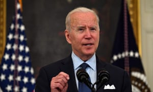 Biden described the lower virus numbers and vaccination rates as a 'dramatic turnaround from where we were in January'.