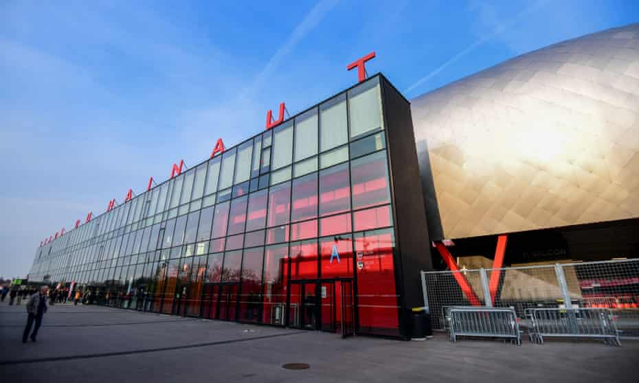 Exterior view of the Stade du Hainaut before the Ligue 2 match between Valenciennes and Troyes.