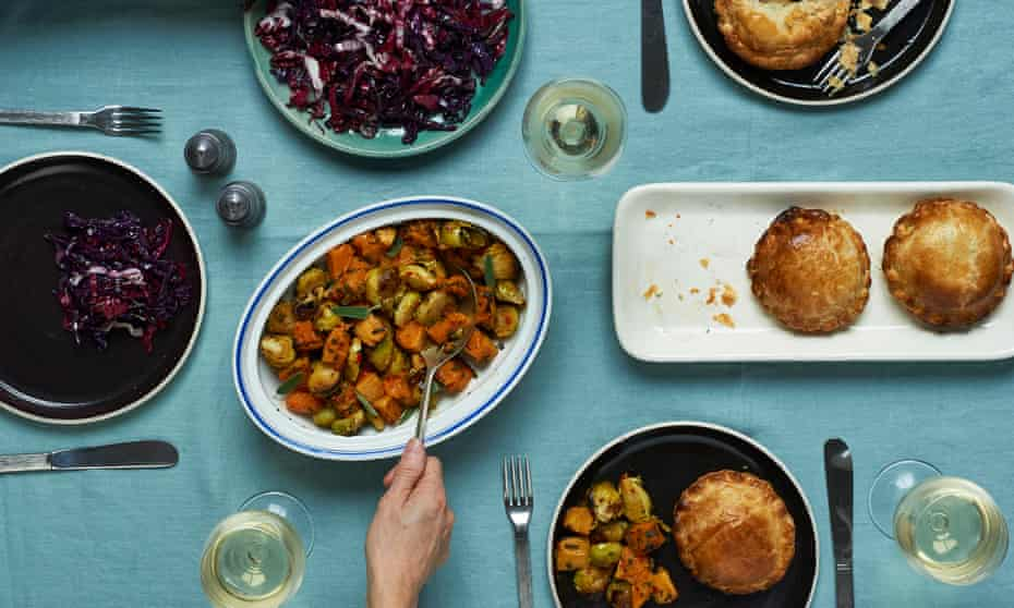 Mushroom wellington, red cabbage with radicchio, roasted squash and sprouts with chilli and sage
