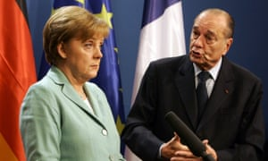 French President Chirac and German Chancellor Merkel address media at Glienicke Palace outside Berlin in 2005