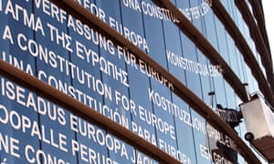 "In 2005 the phrase ""European Constitution"" was stuck up on the building of the European Parliament in all the languages of the European Union"