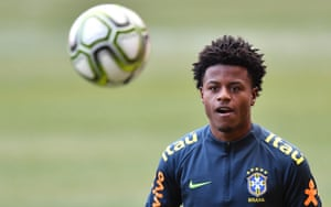 Lucas Santos while training with the Brazil squad earlier this year.