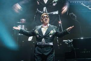Sir Elton John performing in Paris, France