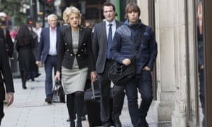 Liam Gallagher, far right, arrives at court with his solicitor, Fiona Shackleton.