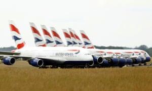 British Airways Airbus A380 airplanes