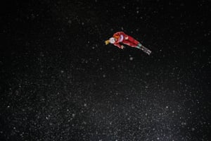 Kristina Spiridonova, an Olympic athlete of Russia, warms up prior to the freestyle skiing women's aerials final.