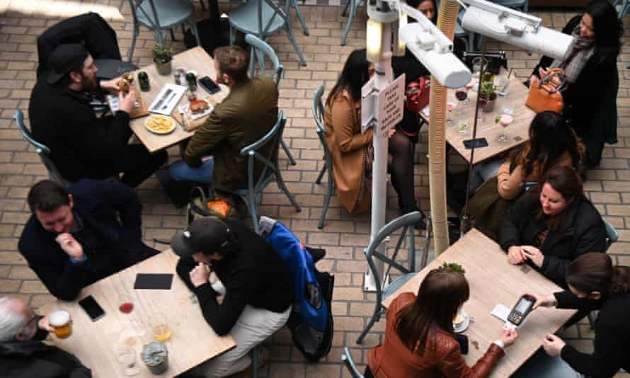 Customers eat at a restaurant