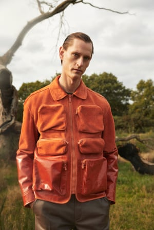 Orange jacket with pockets, £2,250, and leather trousers, £1,450, by Bally