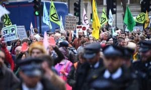 Protesters in central London during an Extinction Rebellion protest in October
