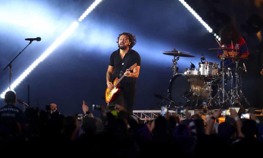 David Le'aupepe of Gang of Youths performs before the 2018 NRL Grand Final match.