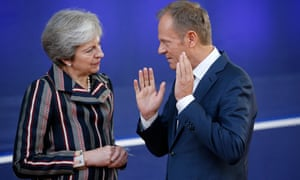 Theresa May and Donald Tusk, the president of the European Council, in 2018.