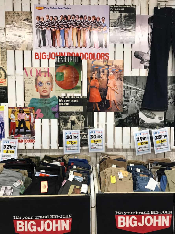 Jeans and vintage memorabilia in the Big John Shop in Kojima.