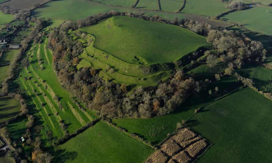 The hill fort of Cadbury Castle, Somerset.